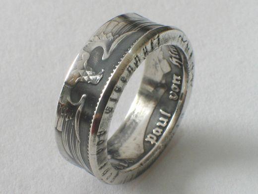 Münzring 5 Reichsmark Adler 1936-39 Silber 900er Gr 52 bis 72 vintage