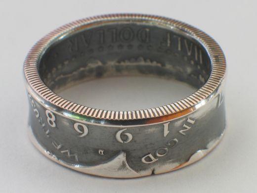 Münzring 1/2 Dollar USA Kennedy 1964 Silber 900er Größe 58 bis 72