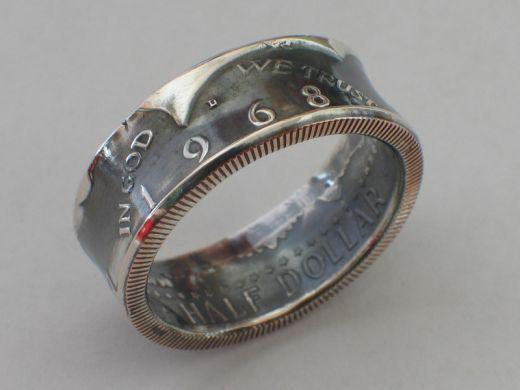 Münzring 1/2 Dollar USA Kennedy 1965 Silber 400er vintage Größe 58 bis 72