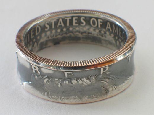 Münzring 1/2 Dollar USA Kennedy 1965 Silber 400er Größe 58 bis 72