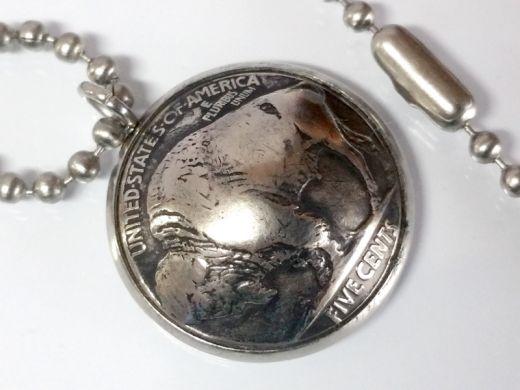 Anhänger Edelstahl Ø 22 mm / 5 cents Münze USA Buffalo Nickel Bison vintage