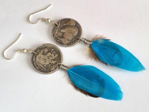 Ohrhänger mit original Münzen USA 5 cents Indianer/ Bison Buffalo Nickel mit Feder