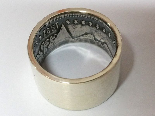 Münzring USA Morgan Dollar Silber 900er gebürstet Größe 60 bis 74