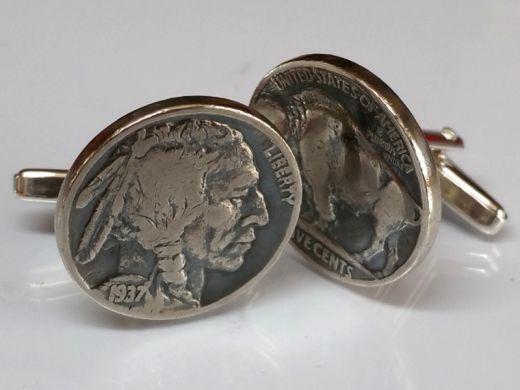 Manschettenknöpfe Silber 925er mit 5 cent Münze USA (Indianer / Bison) vintage
