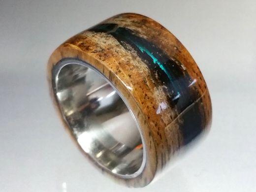 Holzring Whisky-Barrel Fassdaube Amerikanische Weißeiche mit Kunstharz blau- transparent Ringgröße 54