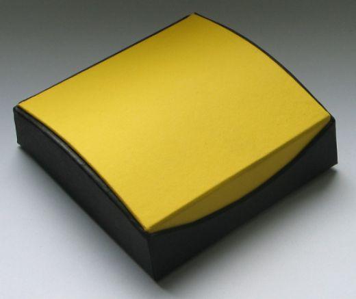 Schmuckschachten aus Karton schwarz/gelb, Außenmaß: 95 x 95 x 31mm