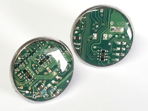 1 paar Upcycling Ohrstecker Edelstahl Ø 18mm Computer Platine in grün