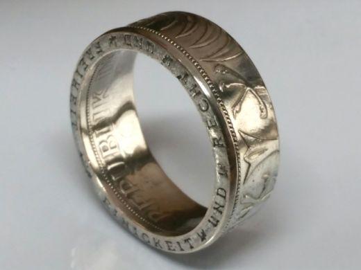 Münzring 5 Mark Heiermann Silberadler Silber 625er Größe 52 bis 72 poliert