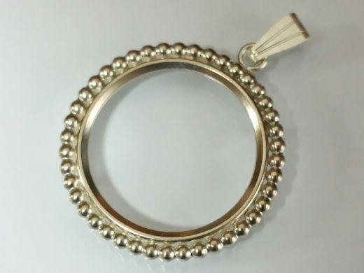 Münzfassung mit Perlrand Ø 13,2 bis 29,1 mm mit Öse Silber 0.925