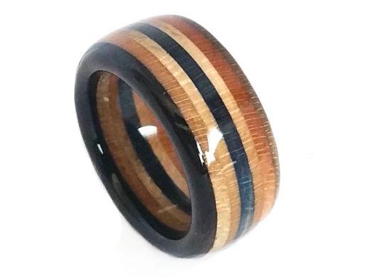 Upcycling Skateboard Ring Breite 9,5 mm Acryl versiegelt Ringgröße 48 bis 74