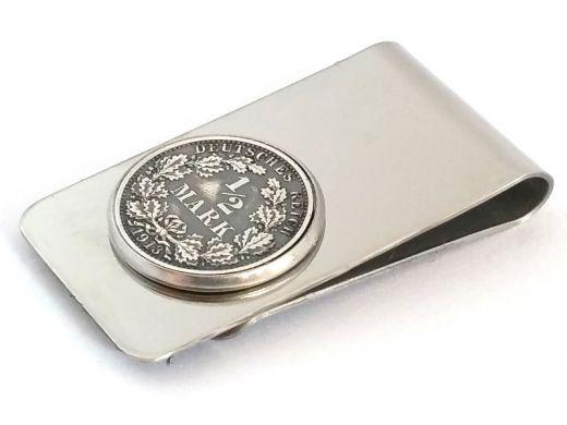 Edelstahl Geldscheinklammer 1/2 Mark Münze Kaiserreich Silber 900er vintage