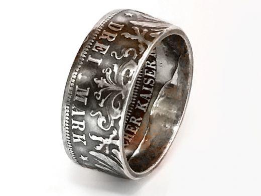 Münzring 3 Mark Kaiserreich Wilhelm II Preussen Silber 900er Größe 60 bis 74