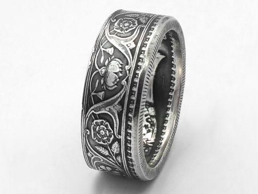 Münzring Indien One Rupee Silber 917er Größe 54 bis 68