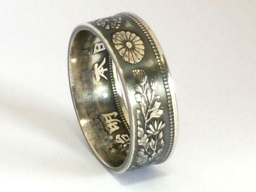 Münzring Japan 50 Sen Silber 800er Größe 48 bis 68