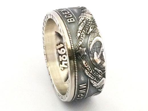 Münzring Russland - UDSSR 1 Rubel 1924 Silber 900er Größe 58 bis 72