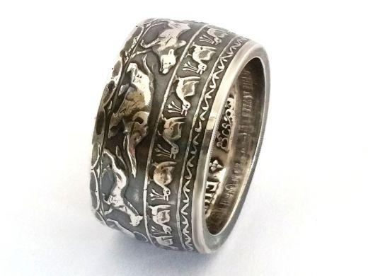Münzring Sri Lanka 5 Rupees 1957 Silber 925er Buddhismus Größe 60 bis 74