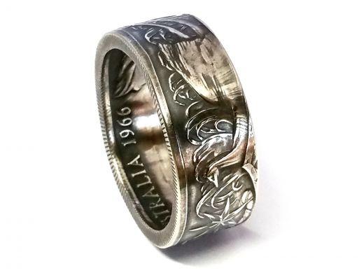 Münzring Australien 50 Cents 1966 Silber 800er Größe 60 bis 74