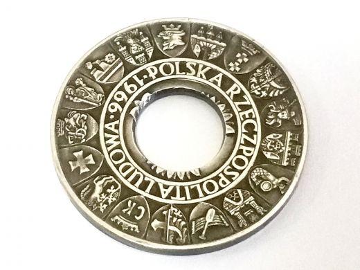 Münzring Polen 100 Zloty 1966 Silber 900er Größe 60 bis 74
