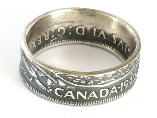 Münzring Kanada 50 Cents 1936-1952 Silber 800er Größe 58 bis 72