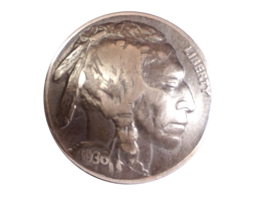 Münzknopf / Concho 5 cents USA Indianer (Buffalo Nickel) vintage