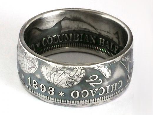 Münzring USA 1/2 Dollar 1893 COLUMBIAN EXPOSITION Silber 900er Größe 58 bis 72