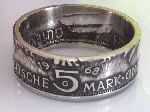 Münzring 5 Mark 1968 Gutenberg Karlsruhe Silber 625er Größe 54 bis 68