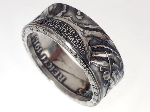 Münzring 3 Mark Kaiserreich 1913 der König rief Silber 900er Größe 60 bis 74