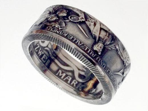 Münzring 2 Mark Kaiserreich 1913 der König rief Silber 900er Größe 50 bis 64