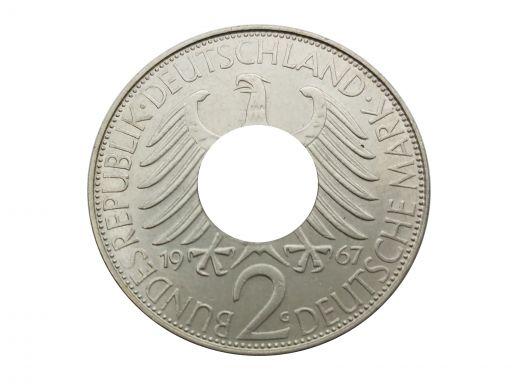 Münzring 1959 BRD 2 Mark mit Datum Kursmünze 24 Karat versilbert
