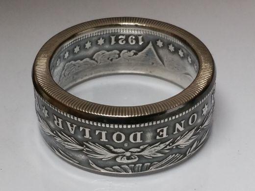 Münzring USA Morgan Dollar 1878 - 1904 / 1921 USA Silber 900er Größe 60 bis 74