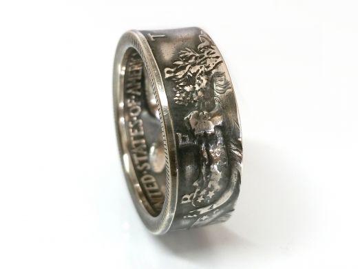 Münzring USA 1/2 Dollar Silber 900er Walking Liberty Größe 58 bis 72