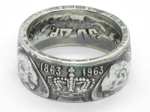Münzring Griechenland 30 Drachmen Könige 1963 Silber 835er Größe 58 bis 74