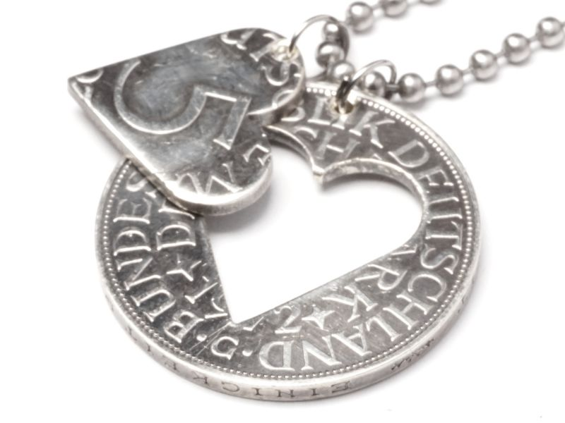 Partneranhänger mit Herz 5 DM Silberadler Deutschland Silber 625er