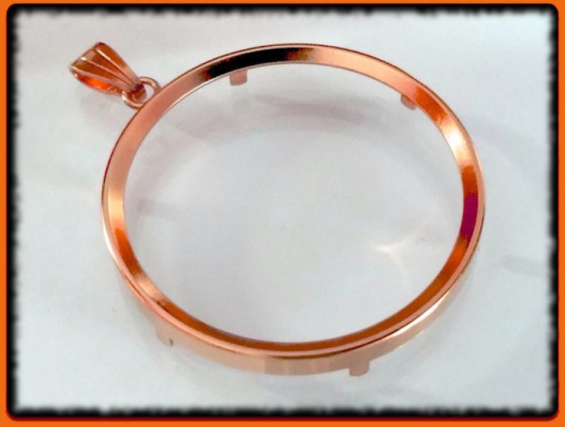 Münzfassung Ø 13,2 bis 41,25 mm mit Öse in Silber 0.925 rosé-vergoldet