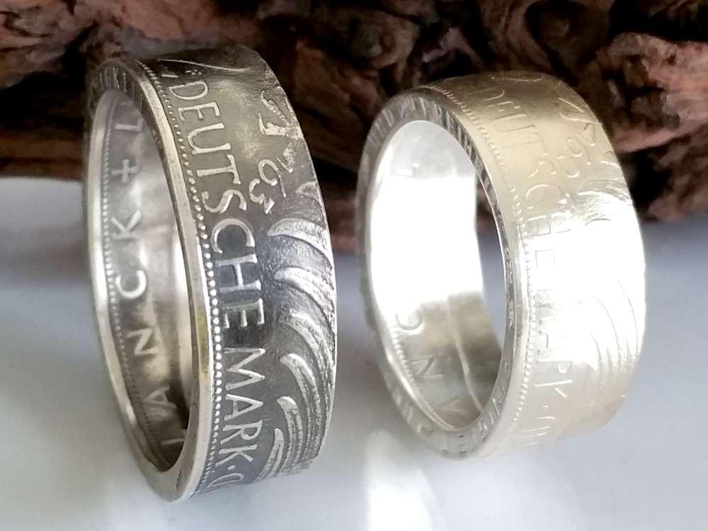 Münzring • 2000 • BRD 5 Mark mit Datum Kursmünze 24 Karat versilbert Ring