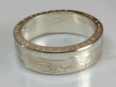 Münzring 5 Reichsmark Adler 1936-39 Silber 900er Größe 52 bis 72 poliert