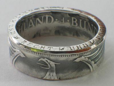 Münzring 5 Mark Silber Heiermann Silberadler Größe 52 bis 72 vintage