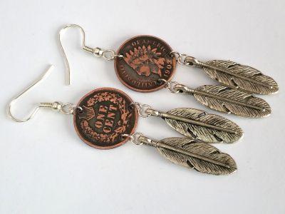 Ohrhänger mit original Münzen USA Indian Head penny mit Feder