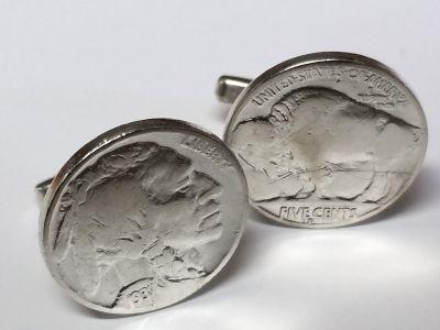 Manschettenknöpfe Silber 925er mit 5 cent Münze USA (Indianer / Bison) versilbert