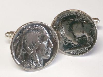 Manschettenknöpfe 5 cents Münze USA (Indianer / Bison) vintage