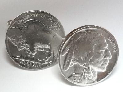 Manschettenknöpfe 5 cents Münze USA (Indianer / Bison) versilbert
