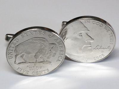 Manschettenknöpfe Silber 925er mit 5 cent Münze USA (Jefferson / Bison) versilbert