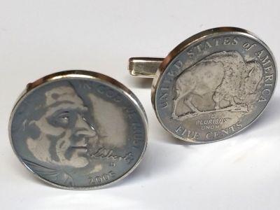 Manschettenknöpfe Silber 925er mit 5 cent Münze USA (Jefferson / Bison) vintage