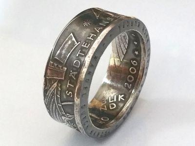 Münzring 10 Euro 2006 650 Jahre Städtehanse Silber 925er Größe 56 bis 74