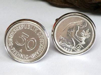 Manschettenknöpfe 50 Pfennig Münze versilbert Kulturfrau BRD mit Datum 1949-1993