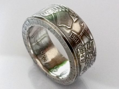 Münzring 10 Euro 2003 Ruhrgebiet Silber 925er Gr 56 bis 74 vintage