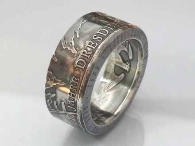 Münzring 10 Euro 2006 800 Jahre Dresden Silber 925er Gr 56 bis 74 vintage
