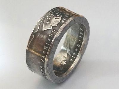Münzring 10 Euro 2007 650 Jahre Saarland Silber 925er Größe 56 bis 74