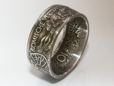 Münzring 10 Mark 1987 Römische Verträge Silber 625er Größe 56 bis 72
