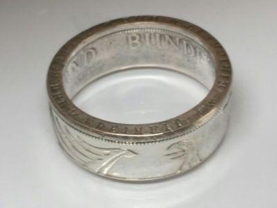 Münzring 5 Mark Silber Heiermann Silberadler Größe 52 bis 72 poliert